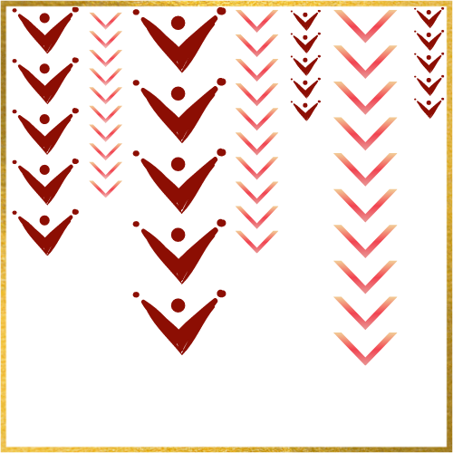 arrows pointing down with a gold border
