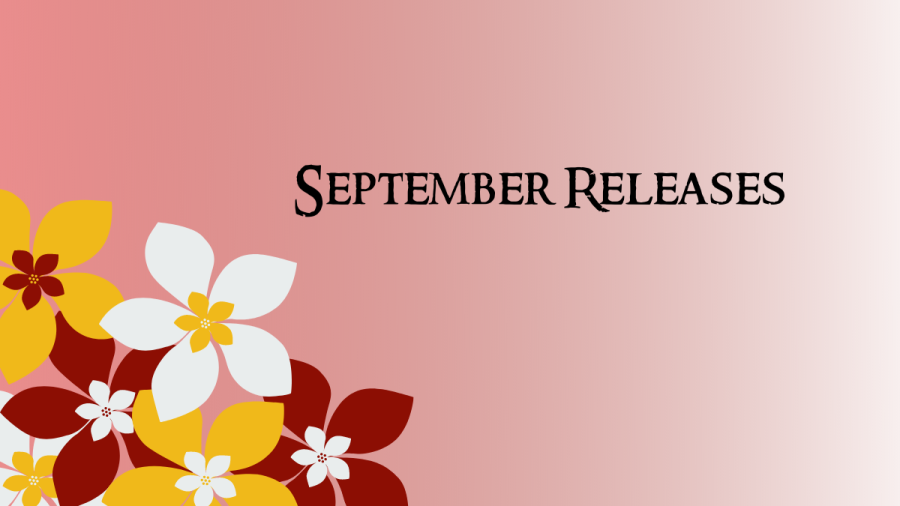 September Releases on a pink background with flowers in the left corner in white, red, and yellow.